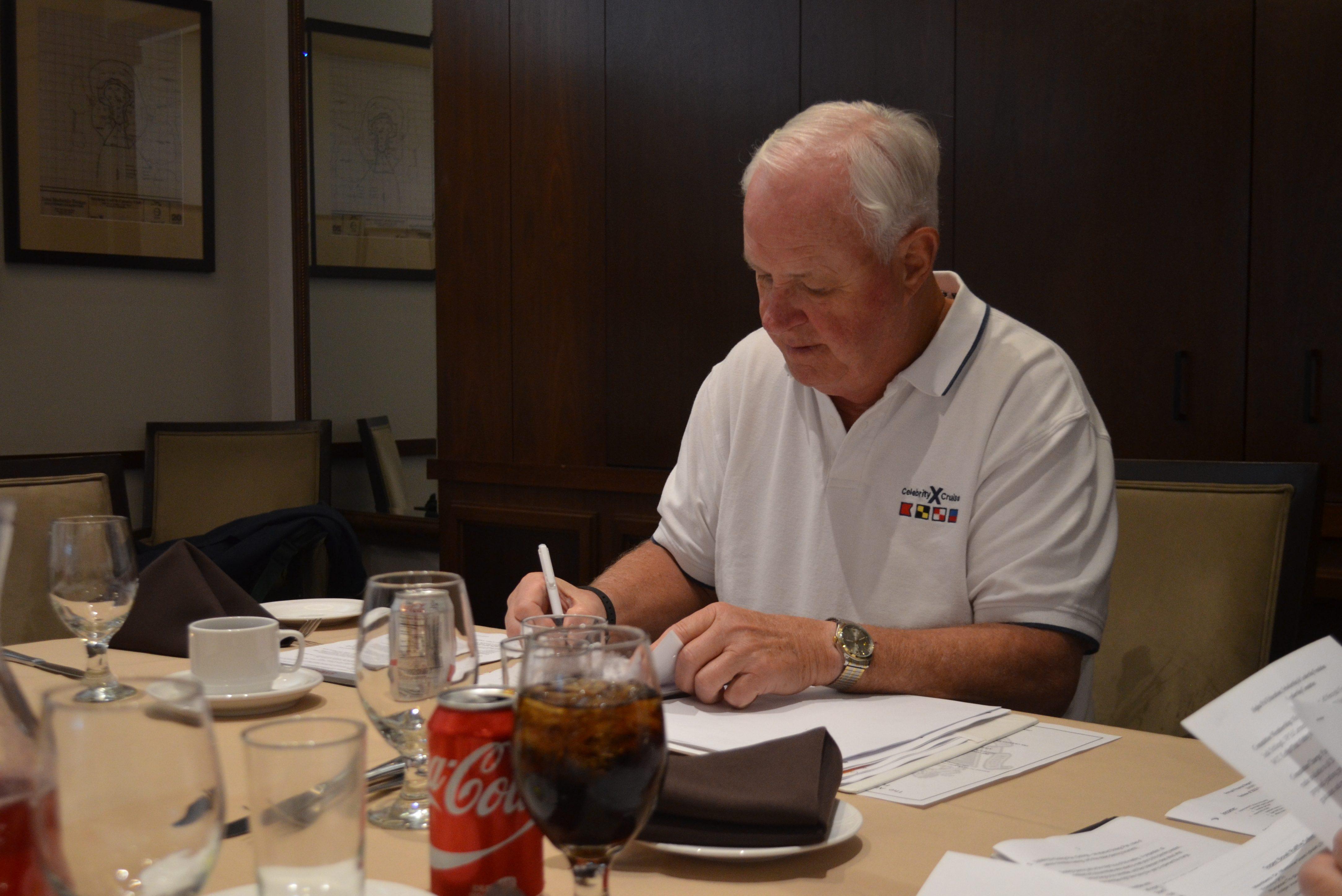 Board President Schlegel deep in thought