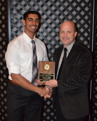 Gary DeGuire (Awards Committee Chairman) presented the 2013 EE Roscoe Memorial Scholarship to PDC Alpha Psi brother Dilraj Sohal.