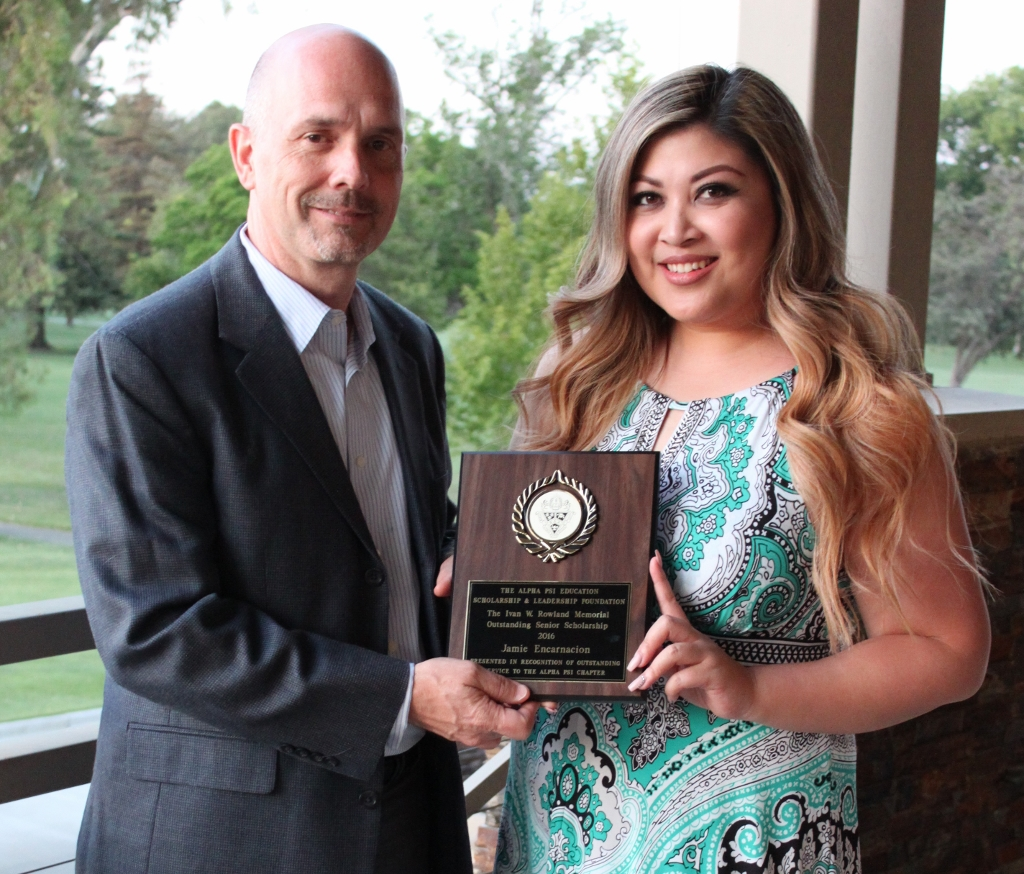 Jamie Encarnacion , 2016 recipient of the Ivan Rowland Memorial Outstanding Senior Scholarship, presented by Gary DeGuire, Awards Chairman