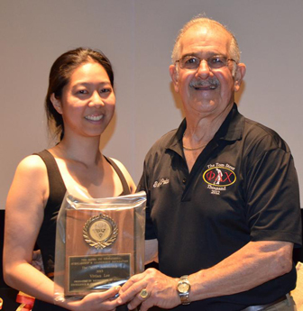 Vivian Lee is presented The Max Scholarship by Ralph Saroyan, CFO