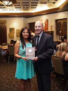 Angela Alfonso, 2014 recipient of the Max Memorial Scholarship, presented by Gary DeGuire,  Awards Chairman