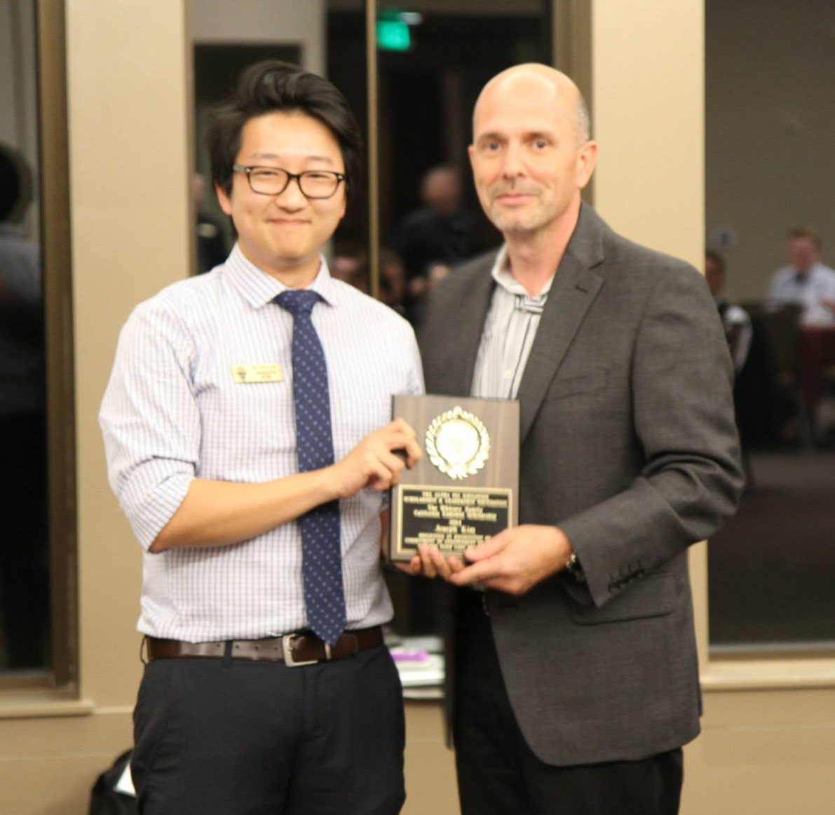Joseph Kim, 1st recipient of the Whitney Family Endowed California Scholarship 2014, presented by Gary DeGuire