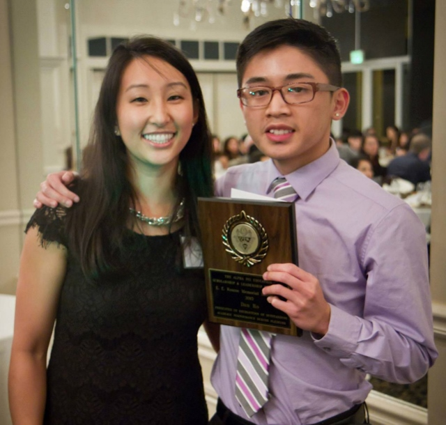 Loan Nguyen (Foundation Secretary) presenting the 2015 winner of the EE Roscoe Memorial Scholarship to Dan Ho