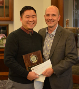 Khoa Luong, 2015 recipient of the Helen Rowland Memorial Scholarship, presented by Gary DeGuire, Awards Chairman