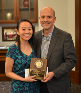 Megan Shimada, 2015 recipient of the Friedmann Memorial Scholarship, presented by Gary DeGuire, Awards Chairman