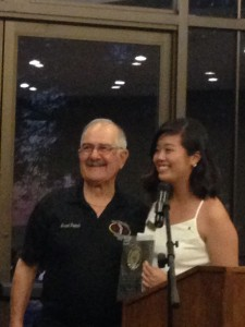 Michelle Ito, 2015 recipient of the Gerald A Miller  Memorial Scholarship, presented by Ralph Saroyan, CFO
