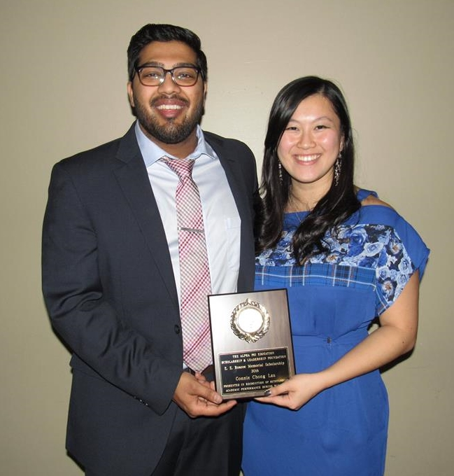 Connie Chong-Lau, 2016 recipient of the E. E. Roscoe Memorial Scholarship, presented by Chintan Shah, Secretary for the Foundation