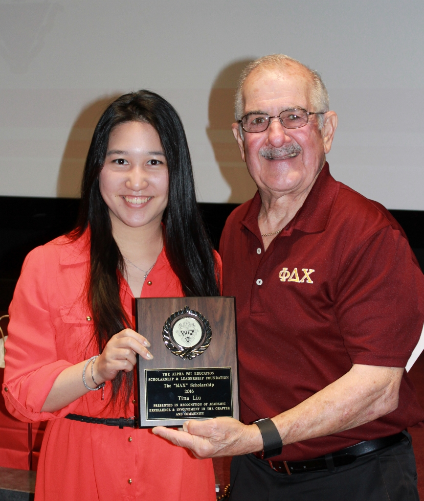 "Tina Liu , 2016 recipient of the ""Max"" Scholarship, presented by Ralph Saroyan, CFO"