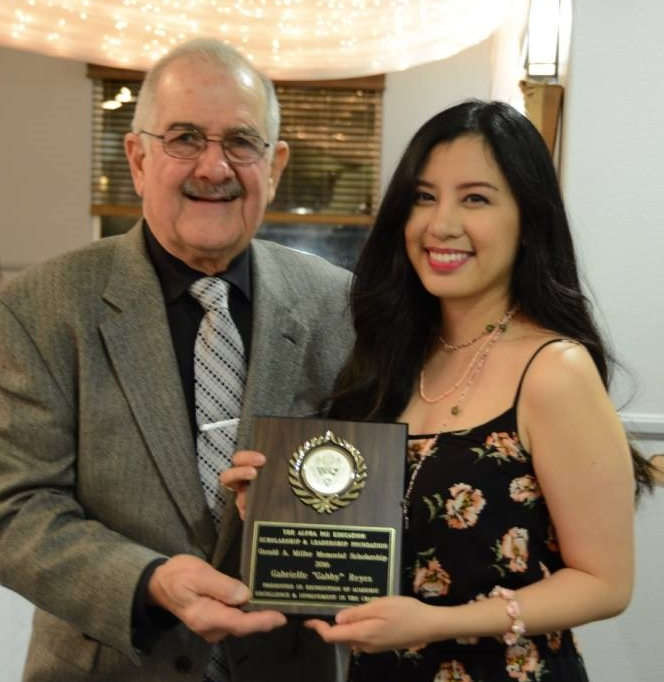 Gabby Reyes , 2016 recipient of the Gerald A Miller Memorial Scholarship, presented by Ralph Saroyan, CFO