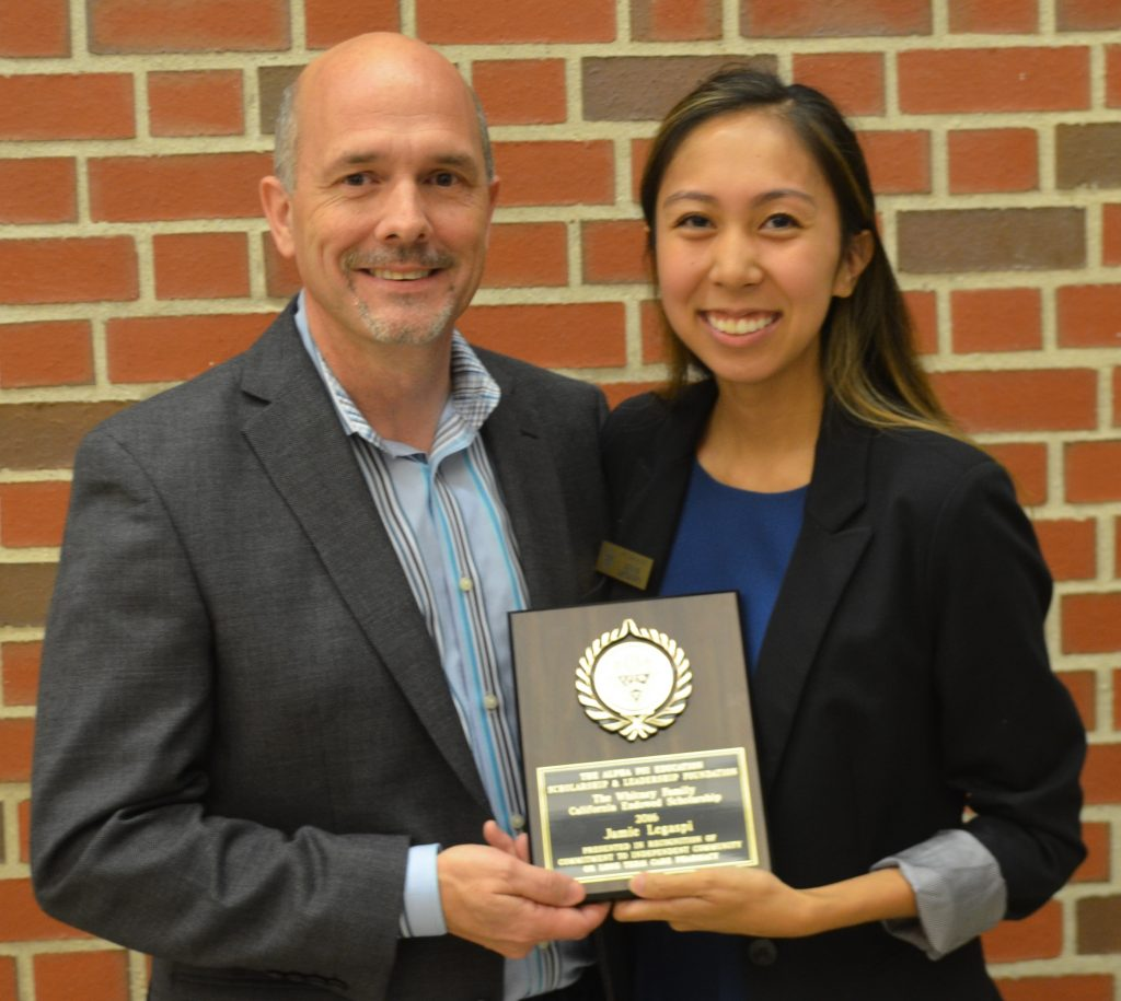 Jamie Legaspi, 2016 winner of the Whitney Family Endowed Scholarship, presented by Gary DeGuire (Awards Chairman) during the Alumni Homecoming Dinner at University of Pacific